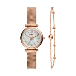 Fossil ES4443SET Set Damen-Uhr Carlie Mini Analog Armband Milaniase Ø 28 mm
