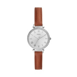 Fossil ES4446 Damen-Uhr Kinsey Analog Quarz mit Leder-Armband Ø 28 mm