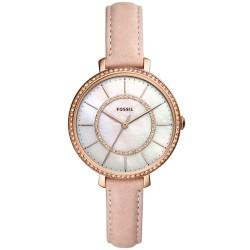 Fossil ES4455 Damen-Uhr Jocelyn Analog Quarz mit Leder-Armband Rosé Ø 36 mm