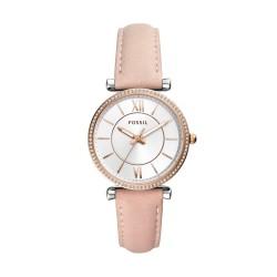 Fossil ES4484 Damen-Uhr Carlie Analog Quarz mit Leder-Armband Rosé Ø 35 mm