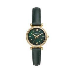 Fossil ES4651 Damen-Uhr Carlie Mini Analog Quarz mit Leder-Band Ø 28 mm