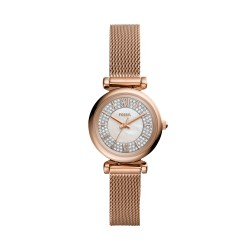 Fossil ES4836 Uhr Damen-Uhr Carlie Mini Analog Quarz mit Edelstahl-Band Ø 28 mm