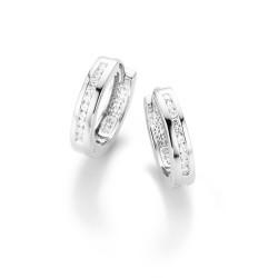 Karat 94010793 Ohrringe Klappcreolen Damen Sterling-Silber Weiss Ø 15,6 mm
