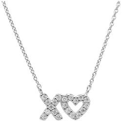 Karat 99031693450 Halskette mit Anhänger X und Herz Silber Zirkonia