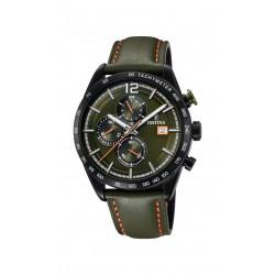 Festina F20344/6 Herren-Uhr Sport Leder Olive Chronograph Ø 44 mm