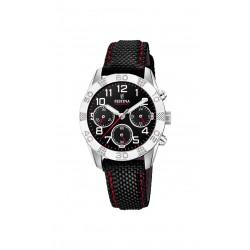 Festina F20346/3 Herren-Uhr Junior Chronograph Quarz Leder/Kunststoff-Band
