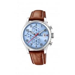 Festina F20375/5 Herren-Uhr Timeless Chronograph Quarz mit Leder-Band