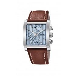 Festina F20424/1 Herren-Uhr Timeless Chronograph Quarz Leder-Band Eckig