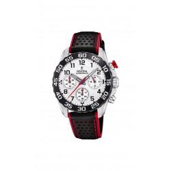 Festina F20458/1 Herren-Uhr Junior Chronograph Quarz mit Leder-Armband