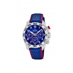 Festina F20458/2 Herren-Uhr Junior Chronograph Quarz mit Leder-Armband