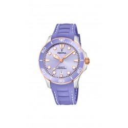 Festina F20502/4 Damen-Armbanduhr Analog Quarz Datum mit Silikon-Band Ø 38,5 mm