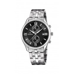 Festina F6854/8 Herren-Uhr Retrograde Chronograph Quarz Edelstahl-Armband