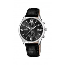 Festina F6855/8 Herren-Uhr Retrograde Chronograph Quarz mit Leder-Armband