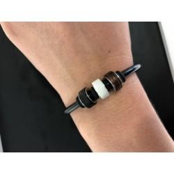 TeNo 025.0504-20 Armband-Set YuKoN Elemente Edelstahl Kautschuk Silber-Ton 20 cm