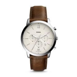 Fossil FS5380 Herren-Uhr Neutra Chronograph Quarz mit Leder-Band Ø 44 mm