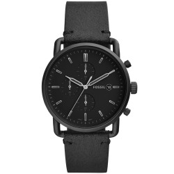 Fossil FS5504 Herren-Uhr The Commuter Chronograph Quarz mit Leder-Band