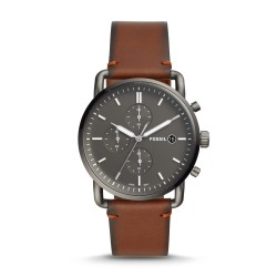 Fossil FS5523 Herren-Uhr The Commuter Chronograph Quarz mit Leder-Band