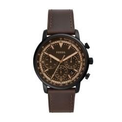 Fossil FS5529 Herren-Uhr Goodwin Chronograph Quarz mit Leder-Band Ø 44 mm