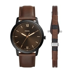 Fossil FS5557SET Herren-Uhr-Set The Minimalist 3H Analog Quarz mit Leder-Band Ø 44 mm