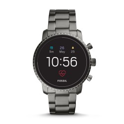Fossil FTW4012 Smartwatch Herren Q Explorist HR 4. Generation mit Edelstahl-Band