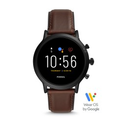 Fossil FTW4026 Smartwatch Herren The Carlyle HR 5. Generation mit Leder-Band Ø 44 mm