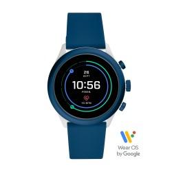 Fossil FTW4036 Smartwatch Herren Sport Blau mit Silikon-Band Ø 43 mm