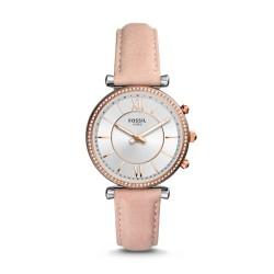 Fossil FTW5039 Hybrid Smartwatch Damen Carlie mit Leder-Band