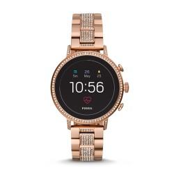 Fossil FTW6011 Smartwatch Damen Q Venture HR 4. Generation mit Edelstahl-Band