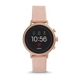 Fossil FTW6015 Smartwatch Damen Q Venture HR 4. Generation mit Leder-Band