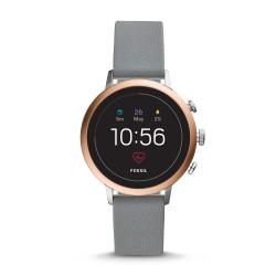 Fossil FTW6016 Smartwatch Damen Q Venture HR 4. Generation mit Leder-Band
