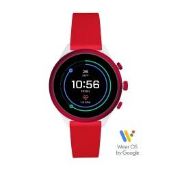 Fossil FTW6052 Smartwatch Damen Sport Rot mit Silikon-Band Ø 41 mm
