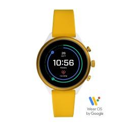 Fossil FTW6053 Smartwatch Damen Sport Gelb mit Silikon-Band Ø 41 mm