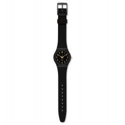 Swatch GB274 Armbanduhr Golden Tac Originals Silikon Schwarz Ø 34 mm