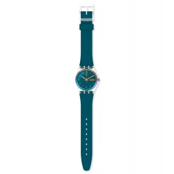Swatch GE721 Armband-Uhr Blue Away Analog Quarz Silikon-Armband