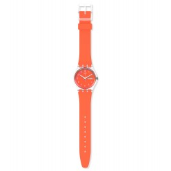 Swatch GE722 Armband-Uhr Red Away Analog Quarz Silikon-Armband