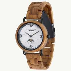 Laimer 0126 Damen Holzuhr Gerlinde Analog Quarz Mondphase Teakholz-Armband