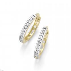 Karat 94014440 Ohrringe Klappcreolen Damen 375/- Gelb-Gold Weiss Ø 12 mm