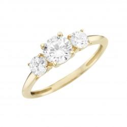 Karat 93012640 Ring Damen Brillantschliff 375/- Gelb-Gold Zirkonia Gr. 56