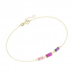 Karat 92020140190 Armband Damen Zirkonia Baguette Rosa Lila 375/- Gelb-Gold