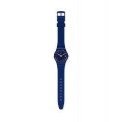 Swatch GN416 Armband-Uhr Silver in Blue Analog Quarz mit Silikon-Band