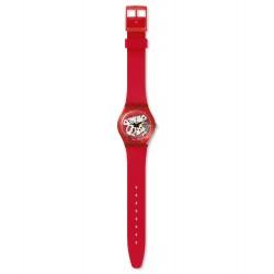 Swatch GR178 Armband-Uhr Rosso Bianco Analog Quarz Silikon-Band
