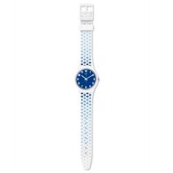 Swatch GW201 Armbanduhr Paveblue Analog Quarz mit Silikon Armband Ø 34,00 mm