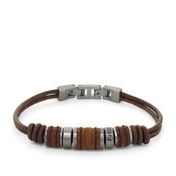 Fossil JF00900797 Leder-Armband Herren Rondell