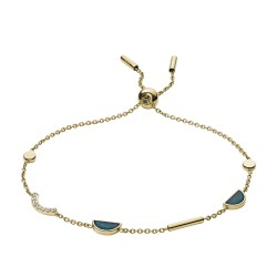 Fossil JF02945710 Armband Damen Fashion Gold-Ton Jade Blau