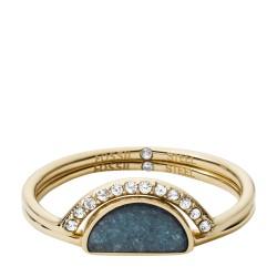 Fossil JF02948710 Ring-Set Damen Fashion Gold-Ton Jade Blau