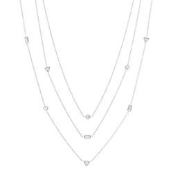 Fossil JF02977040 Kette Damen Vintage Glitz Silber-Ton Weiss