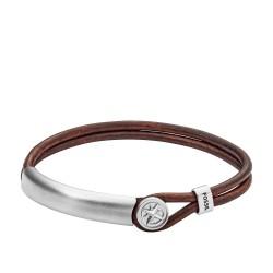 Fossil JF02995040 Armband Herren Compass Edelstahl und Leder Bracelet