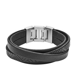 Fossil JF02998040 Armband Herren Textured Black Leder Wrist Edelstahl