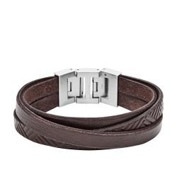 Fossil JF02999040 Armband Herren Geprägt Braun Leder Edelstahl
