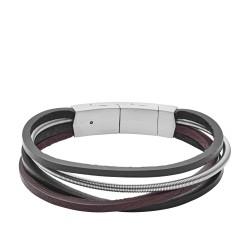 Fossil JF03002040 Armband  Herren Multi-Strand Silber und Leder Edelstahl